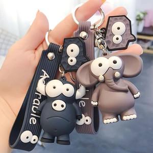 Ugly Cute Big Eye Bull and Elephant Keychain Cartoon Animal Key Chain Ring Elephant Pendant Women Girl Gifts