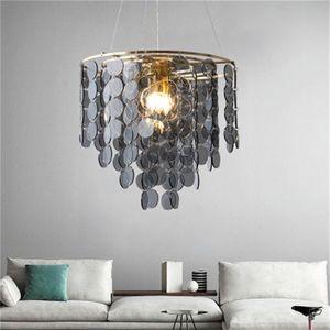 2020 light  grey glass art led chandelier post-modern restaurant creative personality pendant lights bedroom all copper lamps