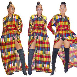 Женская футболка с длинным рукавом платье юбка один кусок набор конструктора женщин платья способа плед печати длинные платья партии женщин одежда klw5571