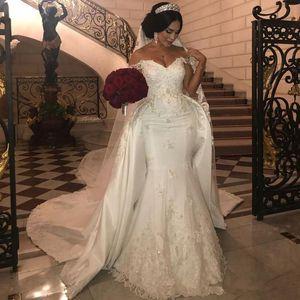 2021 Элегантные свадебные платья из бисера с съемным поездом с плечами русалка свадебные платья Ampliquique Ivory Satin Wedding