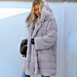 Womens Faux Fur Jackets Outerwear Winter Hooded Velvet Coats Pocket Design Loose Coats Women Clothing Warm Soft Outerwear Tops 5314