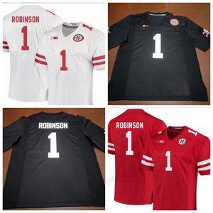 Tudo costurado alguma tamanho 2XS-3XL 4XL 5XL nome ou número baratos novos feitos sob encomenda Nebraska Cornhuskers # 1 Wandale Robinson Football Jersey Femininos