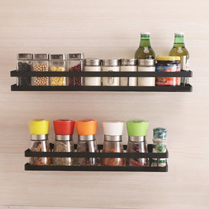 Baffect Wall Shelf for Kitchen Iron Wall Mounted Storage Shelves Organizer Spice Jars Holder Rack Spice Rack Paste up Drill Y200429