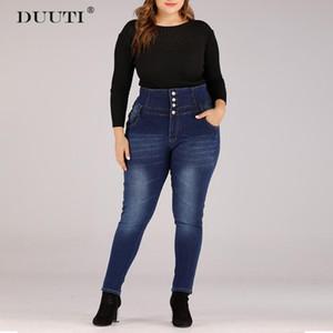 DUUTI Women Plus Size High Waist Jeans Classic Buttoned Design Denim Skinny Pencil Pants Ladies Casual Wild Style Long Pants D25