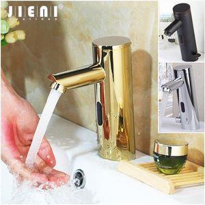 Jieni Golden Plated Solid Brass 자동 센서 무료 터치 크롬 폴란드어 욕실 분지 싱크 수도꼭지 워터 믹서 탭 수도꼭지