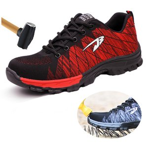 Big Size #39s Breathable Mesh Steel Toe Cap Work Shoes Boots Men Outdoor Anti-slip Steel Puncture Proof Protetive Safety Shoes 201019