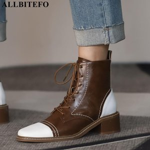 ALLBITEFO mixed colors natural genuine leather women boots lace-up fashion leisure winter autumn motocycle boots ankle
