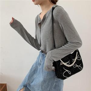 Black Falten Frauen Schulter Messenger Bags Vintage Bowknot Damen Baguette Underarm Bag Perle Kette Coole Mädchen Geldbörse Handtaschen