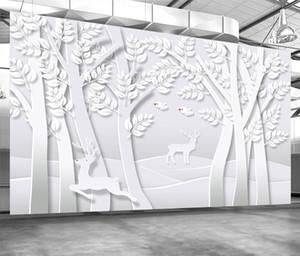 Custom Retail Original 3D Creative Paper-Cut Art Forest TV Background Wall Abstract Tree Bird Linglu Mural