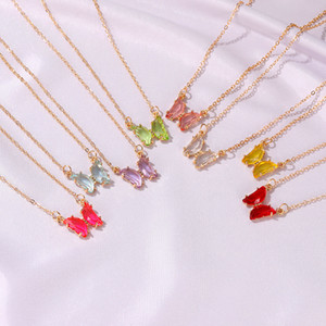 Aço inoxidável Moda Doce cor cristal pingente de borboleta Colar Para Mulheres Glamour Colar da borboleta colorida do sexo feminino jóias
