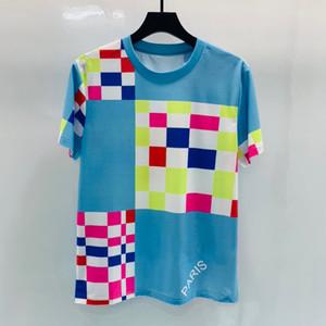 2020 Primavera Summer París Europa Patchwork Cheques Cheques Tshirt Moda Hombres Mujer Camiseta de algodón puro Top Top