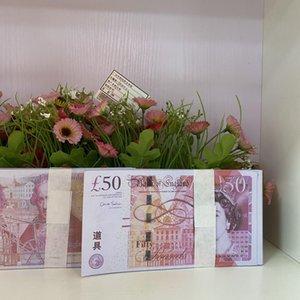 PROP PROP UK Moeda Movie Papel Dinheiro 50 Libras Contas Prop Money Findend GBP 100 PCS / Pack