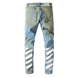Nouvelle grande taille 28-40 Mode Streetwear Men's Street Brand Vieux Vintage Graffiti Imprimer Slim-Fit Jeans Mâle Denim Pantalons Pantalons