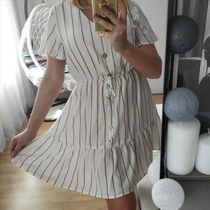 2021 Summer Striped Women Dress Short Sleeve Button White Dress for Ladies Chiffon Beach Sundress Vestidos S XL