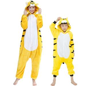 Çocuklar Sarı Kaplan Hayvan pijamalar Kış Karikatür Panda Onesies Çocuk pijamaları Erkekler Kızlar Unicorn Fanila Pijama