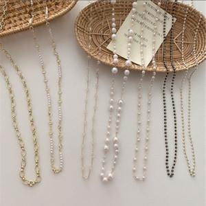 Perline catena trasparente trapano coreano maschera rete rosso versatile collana di perle occhiali