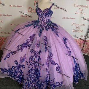 Lavender Luxury Sequins Beaded Quinceanera Dresses 2021 Sweetheart Ruffles Tiered Skirt Lace-up Vestidos de 15 años sweet 16