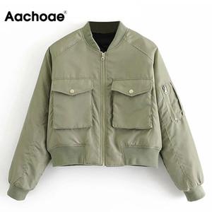 201013 Dış Giyim Aachoae Moda yastıklı Bombacı Ceket Kadınlar Streetwear Uzun Kollu Fermuar Sıcak Coat Sonbahar Kış Casual Cepler