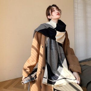 2020 Autumn and Winter New Korean Geometric Striped Scarf Women's Warm Padded Shawl Dual-Purpose Cashmere Shawl Scarf