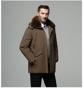 2020 зима новый мужской пуховик среднего возраста и пожилые утолщение плюс пальто лисицы меховой воротник отец отец