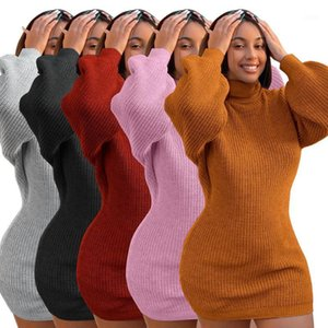 Abiti da donna FNOCE 2020 Inverno New Fashion Casual Solid Long Sleeve Turtleneck Slim Slim Sexy Mini Dress Dress1