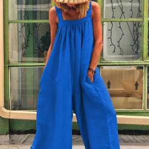 EaseHut Women Loose Summer Jumpsuit with Pockets Oversize Female Baggy Wide Legs Overalls Dungarees Romper Women's Jumpsuit