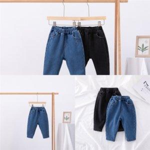J3HRZ Aby Girls Giysileri Yaz Yaz Kot Kalınlaşmak Pamuk Takım Elbise Sıcak Tutmak Çocuk Giyim Çocuk Kadife Ekleyin Kot Kot Şort Eşyalı Set