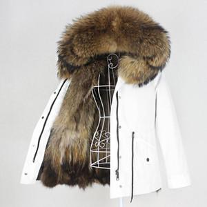 OFTBUY 2020 Capa Impermeable Parka real piel natural de piel de mapache cuello de la chaqueta de la capilla de invierno mujeres calientes prendas de vestir exteriores desmontable Nueva