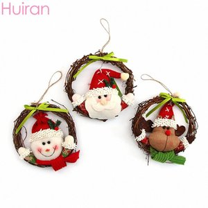 Huiran Christmas Wreath Pendant Christmas Tree Decorations For Home Wooden Wreath Ornaments Santa Claus Decorating Cl3l#