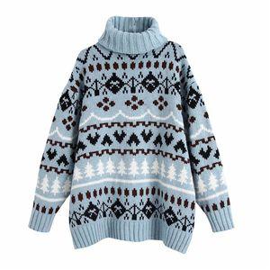 Pseewe azul jacquard superduperizado camisola mulheres za inverno tturtleneck vintage camisola de malha mulher natal suéteres pulôver y201128