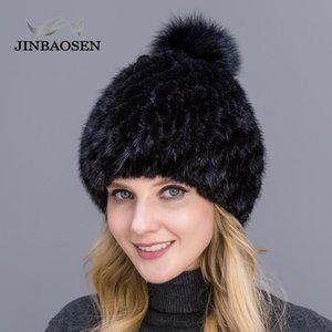 JINBAOSEN 2020 nouvelles dames vrai chapeau de vente chaud chapeau femme épaisse eau en tricot d'hiver avec pompons de fourrure