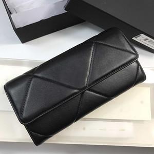 Carteira da mulher designer de venda quente com zíper hasp longa carteira sacos de couro real genuíno com caixa de cartão elegante carteira de diamante