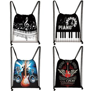 Piano   Guitar Backpack Musical Notes Drawstring Bag Women Travel Bag Teenager Boys Girls Storage Kids Bookbag