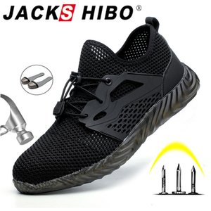 JACKSHIBO Safety Work Shoes Boots For Men Male Protective Steel Toe Cap Boots Anti-Smashing Construction Safety Work Sneakers 201019