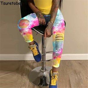 Tsuretobe déchiré jeans pour femmes celles de colorant taille haute jeans de mode vêtements de mode pour femmes plus taille jeans denim pantalon crayon pantalon de pantalon LJ201012