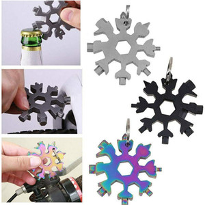 18 in 1 Snowflake Multi-Tool Stainless Steel Multitool Card Mini Screwdriver Wrench Bottle Opener Key Chain for Outdoor Survive Camp E102902