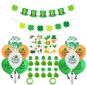 Decoraciones del día de St Patrick Los tréboles verdes Banners Set Shamrock Lucky Irish Party Guirlands Festival irlandés Festival Latex Globos Sets EWF4925
