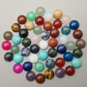 natural stone round cabochon beads for Jewelry making 6MM 8MM 10MM 12MM 50-200PCS mixed Ring Accessories wholesale no hole Q1106