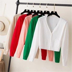 Casaco feminino Primavera Knitwear por Mulheres senhoras Short Cardigan V Neck manga comprida de algodão colhido Cardigan Sweaters Fina