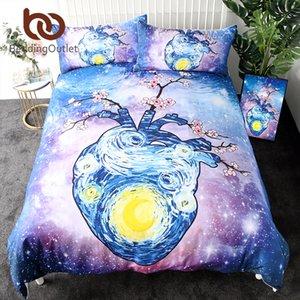BeddingOutlet Heart Bedding Set Watercolor Art Starry Sky Duvet Cover Set Plum Flower Home Textiles Galaxy Bedclothes 3-Piece