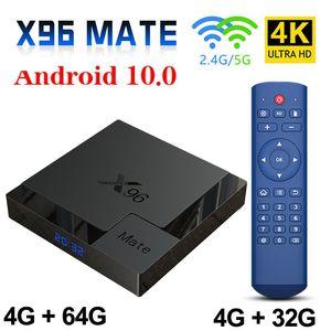 X96 Mate Android 10.0 Akıllı TV Kutusu 4 GB 64 GB Bluetooth 2.4 g / 5g Çift WiFi Alllwinner H616 Dört Çekirdekli 4G 32G Set Üstü Kutusu Mini Media Player TVBOX