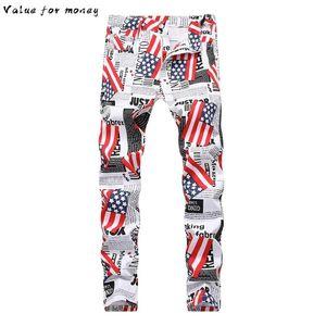 флага English Мужских шаблона белых печатных джинсы Мода тонкие подходят бумажные письма цветных окрашенных брюк