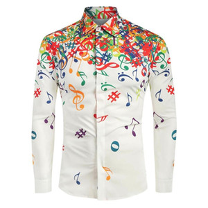 남성 캐주얼 턴 다운 칼라 참신 음표 패턴 독특한 디자인 긴 소매 셔츠