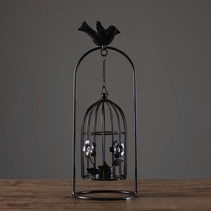 Европейский Bird Cage Tea Light Подвесной фонарь с Железный цветок бабочка ришелье ретро подсвечник для дома Свадебное Черный Белый
