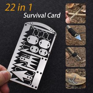 EDC كيت 22 في 1 الصيد العتاد بطاقة الائتمان متعددة الأداة معدات التخييم في الهواء الطلق أدوات البقاء على قيد الحياة أدوات الصيد بقاء الطوارئ