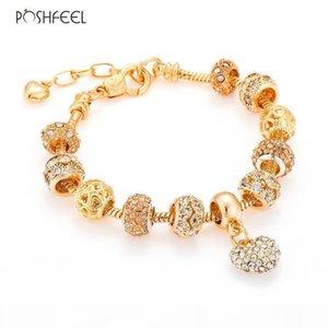 whole salePoshfeel Crystal Heart Charm Bracelets & Bangles Gold Color Bracelets For Women Jewellery Pulseira Feminina Mbr170216