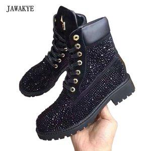 Martin Boots 201.020 kadar JAWAKYE Siyah Rhinestone Düz ayak bileği Boots Kadınlar Gladyatör kalın topuk Kısa kışlık botlar Kristal Çivili dantel