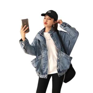 Sonbahar Gevşek Boş Vintage Cep Kovboy Coat jaket Kadınlar Ceket Befree chaqueta Mujer Riverdale Artı boyutu Yocalor Ceketler