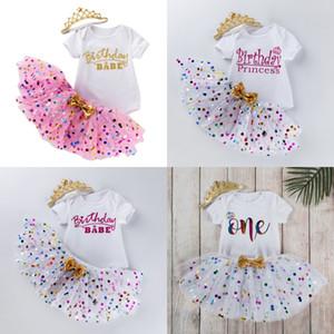 3 шт. TUTU платья костюм детское день рождения буква прекрасный хаки точка принцессы юбка ползунка корона головная одежда детская одежда 31fk k2