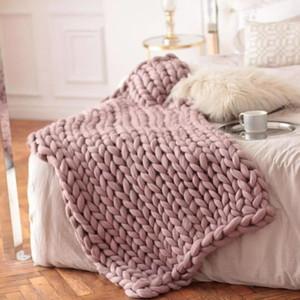 200x200cm Fashion Hand Chunky Wool Knitted Blanket Thick Yarn Merino Wool Bulky Knitting Throw Blankets Chunky Knit Blanket 201113